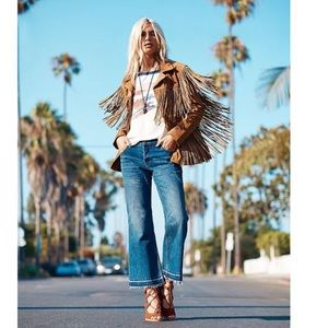 Free People Chelsea Cropped Frayed Flared Jeans